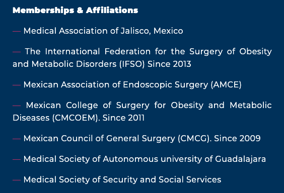Dr. Ramirez Memberships