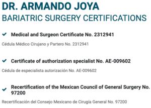 Dr. Armando Joya Certifications