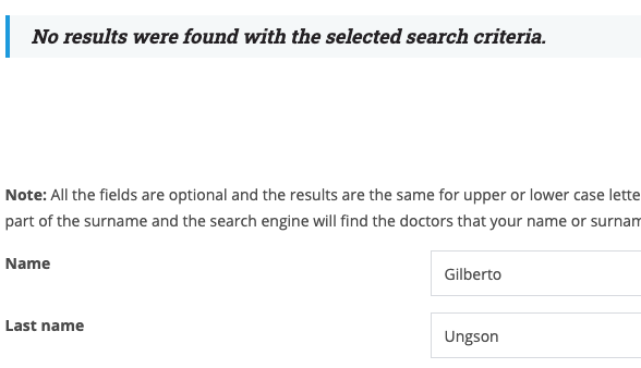 Cannot find Active Board Certification for General Surgery for Dr. Ungson